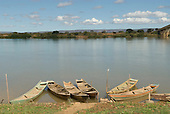Ibotirama, Bahia State, Brazil. Sao Francisco River; wooden river boats moored.