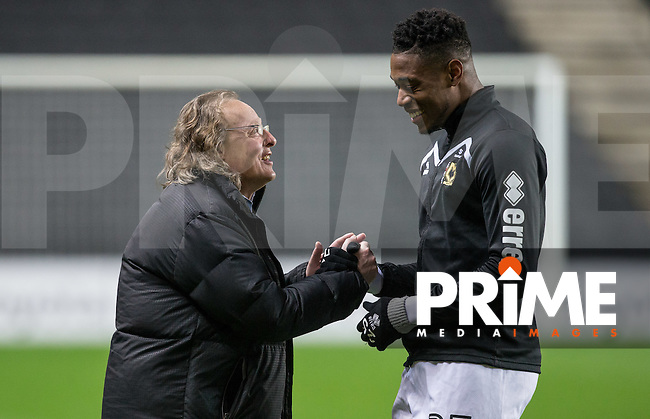 MK Dons Chairman Pete Winkelman with Chuks Aneke of Milton Keynes Dons before the match during the Sky Bet League 1 match between MK Dons and Chesterfield at stadium:mk, Milton Keynes, England on 22 November 2016. Photo by Andy Rowland.