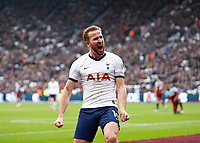 23rd November 2019; London Stadium, London, England; English Premier League Football, West Ham United versus Tottenham Hotspur; Harry Kane of Tottenham Hotspur celebrates after scoring his sides 3rd goal in the 50th minute to make it 0-3 - Strictly Editorial Use Only. No use with unauthorized audio, video, data, fixture lists, club/league logos or 'live' services. Online in-match use limited to 120 images, no video emulation. No use in betting, games or single club/league/player publications