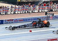 Apr 12, 2015; Las Vegas, NV, USA; NHRA top fuel driver Larry Dixon during the Summitracing.com Nationals at The Strip at Las Vegas Motor Speedway. Mandatory Credit: Mark J. Rebilas-