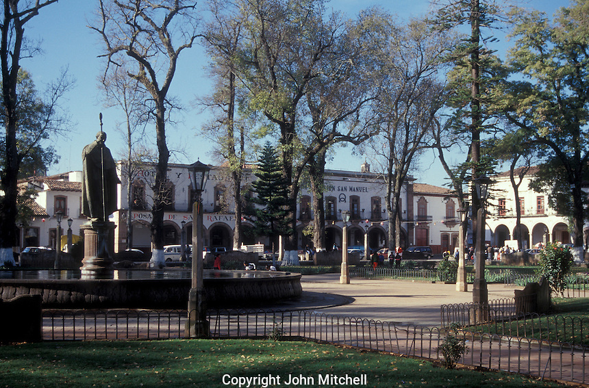 The Plaza Vasco de Quiroga or Plaza grande in the Spanish colonial town of Patzcuaro, Michoacan, Mexico