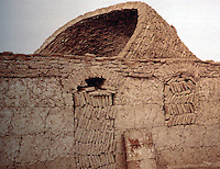 World Civilization:  Afghanistan--Adobe Vault and Arches under construction.  No scaffolding.  Inclined face of rings gives support to succeeding courses.  SPECTACULAR VERNACULAR.  Photo '91.