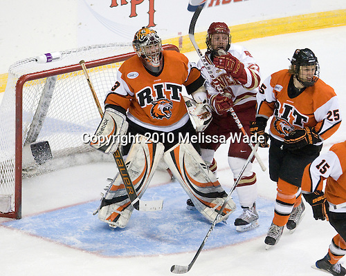 Jared DeMichiel (RIT - 33), Brandon Vossberg (Denver - 27), Daniel Spivak (RIT - 25) - The Rochester Institute of Technology (RIT) Tigers defeated the Denver University Pioneers 2-1 on Friday, March 26, 2010, in their NCAA East Regional semi-final at the Times Union Center in Albany, New York.