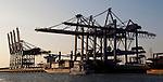 Hamburg-Germany - May 04, 2013 -- Port of Hamburg / harbour at the river Elbe: container cranes at CTB Container Terminal Burchardkai (HHLA, Hamburger Hafen und Logistik Aktiengesellschaft), Infrastructure -- Photo: © HorstWagner.eu