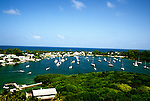 Bahamas: View from Hopetown Lighthouse near Abaco, boats in harbor.  Photo: bahcol103.Photo copyright Lee Foster, 510/549-2202, lee@fostertravel.com, www.fostertravel.com