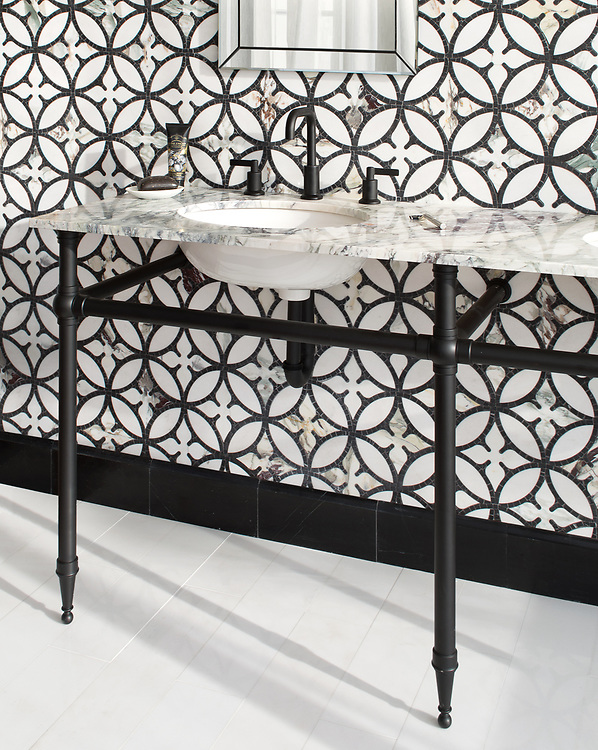 """Omar, a hand-cut and waterjet stone mosaic, shown in polished Thassos, Plumeria, and tumbled Nero Marquina with 6"""" x 24"""" polished Thassos bricks."""