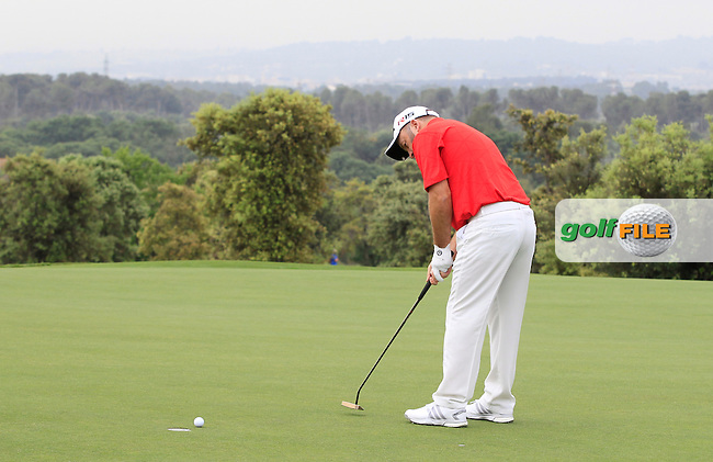 Damien McGrane (IRL) on the 12th green during Round 1 of the Open de Espana  in Club de Golf el Prat, Barcelona on Thursday 14th May 2015.<br /> Picture:  Thos Caffrey / www.golffile.ie