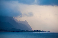 Hanalei Bay with Mount Makana in the distance on the north shore of Kauai.