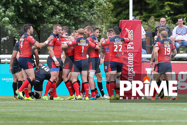 Featherstone Rovers score the opening try during the Kingstone Press Championship match between London Broncos and Featherstone Rovers at Castle Bar , West Ealing , England  on 25 June 2017. Photo by David Horn.