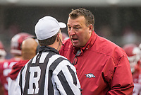 Hawgs Illustrated/BEN GOFF <br /> Bret Bielema, Arkansas head coach, consults with an official in the second quarter against Mississippi State Saturday, Nov. 18, 2017, at Reynolds Razorback Stadium in Fayetteville.
