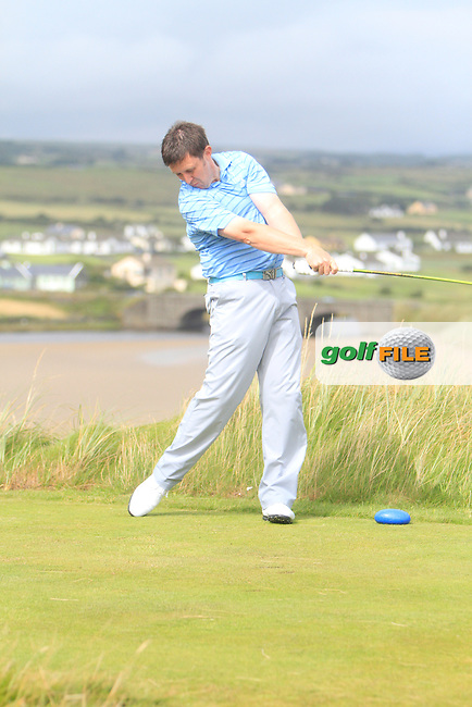 Paul O'Hara (Kilkenny) on the 9th tee during the South of Ireland Amateur Open Championship Final at Lahinch Golf Club  31th July 2013 <br /> Picture:  Thos Caffrey / www.golffile.ie