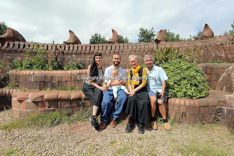 Pictured L-R: Rebecca Sampson-Jorge, Valentine Kuhl, Aurora Jorge-Kuhl, Gwen Heeney and Marco Kuhl Saturday 13 August 2016<br />Re: Grow Wild event at  Furnace to Flowers site in Ebbw Vale, Wales, UK