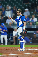 Kentucky Wildcats catcher Troy Squires (16) gives a signal against the Louisiana Ragin' Cajuns in game seven of the 2018 Shriners Hospitals for Children College Classic at Minute Maid Park on March 4, 2018 in Houston, Texas.  The Wildcats defeated the Ragin' Cajuns 10-4. (Brian Westerholt/Four Seam Images)
