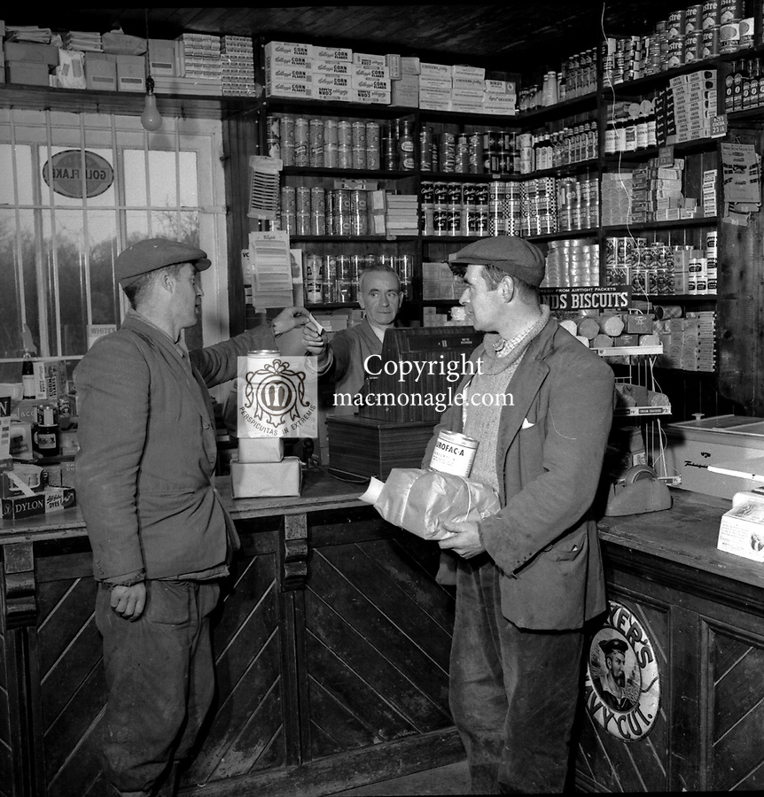 An old syle shop in East Kerry in the 1960's. Popular products in the shop included brown wrapped bread, shoe laces, loose biscuits, wafer icecreams, haircombs and bicycle attachments..Photo: macmonagle.com archive