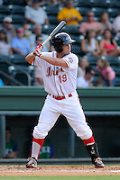 Outfielder Kevin Heller (19) of the Greenville Drive in a game against the Lexington Legends on Monday, July 22, 2013, at Fluor Field at the West End in Greenville, South Carolina. Lexington won, 7-3. (Tom Priddy/Four Seam Images)