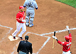 24 April 2010: Washington Nationals' infielder Alberto Gonzalez crosses the plate to score against the Los Angeles Dodgers at Nationals Park in Washington, DC. The Dodgers edged out the Nationals 4-3 in a thirteen inning game. Mandatory Credit: Ed Wolfstein Photo