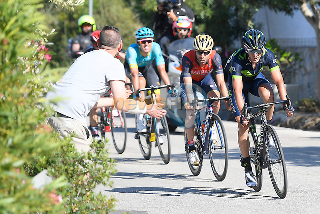 Gorka Izaguirre (ESP) Movistar Team, Giovanni Visconti (ITA) Bahrain-Merida and Luis Leon Sanchez (ESP) Astana near the end of Stage 8 of the 100th edition of the Giro d'Italia 2017, running 189km from Molfetta to Peschici, Italy. 1th May 2017.<br /> Picture: LaPresse/Fabio Ferrari | Cyclefile<br /> <br /> <br /> All photos usage must carry mandatory copyright credit (&copy; Cyclefile | LaPresse/Fabio Ferrari)