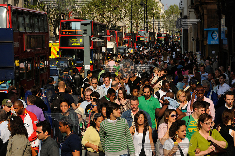 Multi-ethnic shopping crowds on London's Oxford Street.