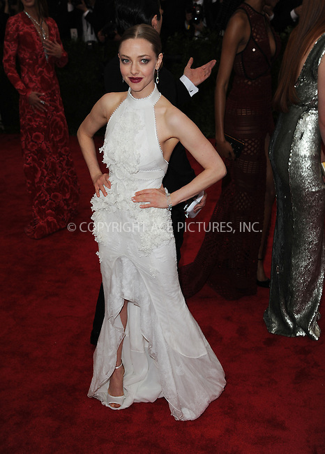WWW.ACEPIXS.COM<br /> <br /> May 4 2015, New York City<br /> <br /> Actress Amanda Seyfried attending the Costume Institute Benefit Gala celebrating the opening of China: Through the Looking Glass at the Metropolitan Museum of Art on May 4 2015 in New York City.<br /> <br /> <br /> Please byline: Kristin Callahan/ACE Pictures<br /> <br /> ACE Pictures, Inc.<br /> www.acepixs.com, Email: info@acepixs.com<br /> Tel: 646 769 0430