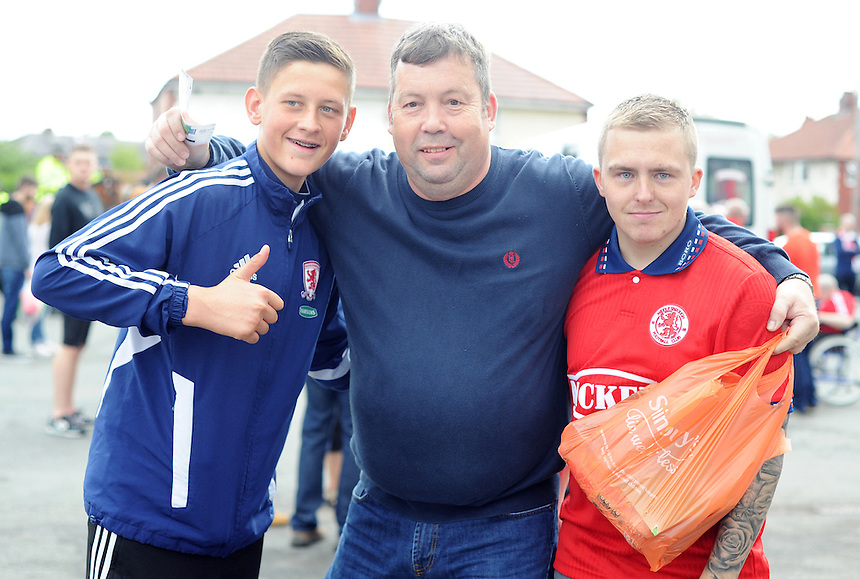 Middlesbrough fans before today's match<br /> <br /> Photographer Kevin Barnes/CameraSport<br /> <br /> Football - The Football League Sky Bet Championship - Preston North End v Middlesbrough -  Sunday 9th August 2015 - Deepdale - Preston<br /> <br /> &copy; CameraSport - 43 Linden Ave. Countesthorpe. Leicester. England. LE8 5PG - Tel: +44 (0) 116 277 4147 - admin@camerasport.com - www.camerasport.com