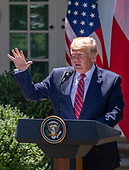 United States President Donald J. Trump makes remarks as he and President Andrzej Duda of the Republic of Poland, conduct a joint press conference in the Rose Garden of the White House in Washington, DC on Wednesday, June 12, 2019. <br /> Credit: Ron Sachs / CNP