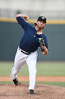 Pitcher Cam Griffin (33) of the Columbia Fireflies delivers a pitch in a game against the Augusta GreenJackets on Sunday, July 30, 2017, at Spirit Communications Park in Columbia, South Carolina. Augusta won, 6-0. (Tom Priddy/Four Seam Images)