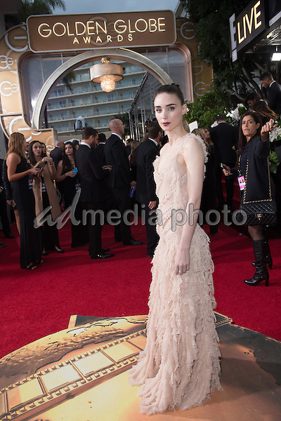 "Nominated for BEST PERFORMANCE BY AN ACTRESS IN A MOTION PICTURE – DRAMA for her role in ""Carol,"" actress Rooney Mara attends the 73rd Annual Golden Globe Awards at the Beverly Hilton in Beverly Hills, CA on Sunday, January 10, 2016. Photo Credit: HFPA/AdMedia"