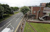 Men in World War I gear in the High Street, Dyfatty, Swansea, south Wales UK. Friday 01 July 2016
