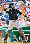 10 July 2011: Colorado Rockies catcher Matt Pagnozzi in action against the Washington Nationals at Nationals Park in Washington, District of Columbia. The Nationals shut out the visiting Rockies 2-0 salvaging the last game their 3-game series at home prior to the All-Star break. Mandatory Credit: Ed Wolfstein Photo