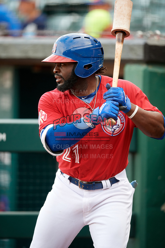 Buffalo Bisons left fielder Dwight Smith Jr. (21) on deck during a game against the Lehigh Valley IronPigs on June 23, 2018 at Coca-Cola Field in Buffalo, New York.  Lehigh Valley defeated Buffalo 4-1.  (Mike Janes/Four Seam Images)