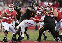 NWA Democrat-Gazette/CHARLIE KAIJO Missouri Tigers defensive lineman Terry Beckner Jr. (5) tackles Arkansas Razorbacks quarterback Austin Allen (8) in the second half during a football game on Friday, November 24, 2017 at Razorback Stadium in Fayetteville.