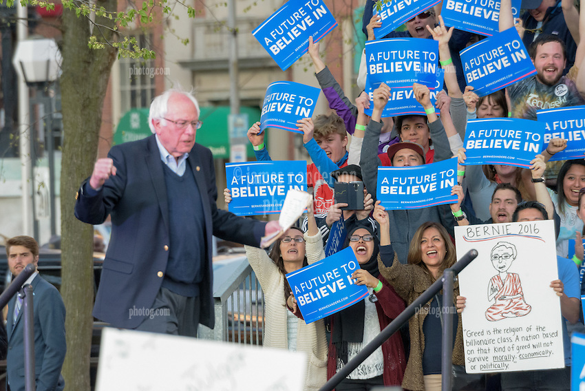 Bernie Sanders arriving on Stage. The  Rally in New Haven CT on 24 April 2016