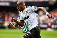 29th February 2020; Mestalla, Valencia, Spain; La Liga Football,Valencia versus Real Betis; Geoffrey Kondogbia of Valencia CF beats Andres Guardado of Real Betis