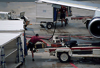 Airplane being loaded with baggage