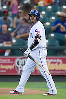 Round Rock Express designated hitter Manny Ramirez (99) against the Iowa Cubs in the Pacific Coast League baseball game on July 21, 2013 at the Dell Diamond in Round Rock, Texas. Round Rock defeated Iowa 3-0. (Andrew Woolley/Four Seam Images)