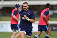 Charlie Ingall of London Scottish warms up ahead of the Greene King IPA Championship match between London Scottish Football Club and Ealing Trailfinders at Richmond Athletic Ground, Richmond, United Kingdom on 8 September 2018. Photo by David Horn.