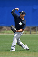 New York Yankees Brandon Thomas (66) during practice before a minor league spring training game against the Toronto Blue Jays on March 24, 2015 at the Englebert Complex in Dunedin, Florida.  (Mike Janes/Four Seam Images)