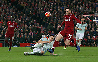 Bayern Munich's Niklas Sule clears under pressure from Liverpool's Andrew Robertson<br /> <br /> Photographer Rich Linley/CameraSport<br /> <br /> UEFA Champions League Round of 16 First Leg - Liverpool and Bayern Munich - Tuesday 19th February 2019 - Anfield - Liverpool<br />  <br /> World Copyright © 2018 CameraSport. All rights reserved. 43 Linden Ave. Countesthorpe. Leicester. England. LE8 5PG - Tel: +44 (0) 116 277 4147 - admin@camerasport.com - www.camerasport.com
