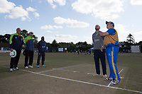 Ollie Peck of Upminster and Nick Browne of Essex at the toss during Upminster CC vs Essex CCC, Benefit Match Cricket at Upminster Park on 8th September 2019
