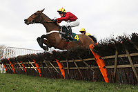 Race winner Ericht ridden by Gary Derwin jumps the last fence during the Betfair Funds PJA Doctor National Hunt Maiden Hurdle - Horse Racing at Fakenham Racecourse, Norfolk