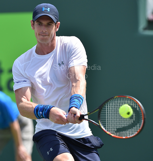 KEY BISCAYNE, FL - MARCH 27: Andy Murray of Great Britain defeats Donald Young of the United States in their second round match during the Miami Open Presented by Itau at Crandon Park Tennis Center on March 27, 2015 in Key Biscayne, Florida<br /> <br /> <br /> People:  Andy Murray<br /> <br /> Transmission Ref:  FLXX<br /> <br /> Must call if interested<br /> Michael Storms<br /> Storms Media Group Inc.<br /> 305-632-3400 - Cell<br /> 305-513-5783 - Fax<br /> MikeStorm@aol.com
