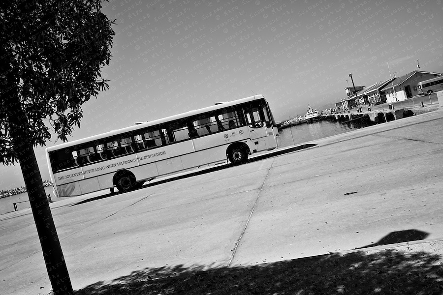 Tourist Bus is seen on Robben Island, South Africa, March 16, 2011. Former ANC president and Nobel Peace Prize winner Nelson Mandela spent much of his 27-year imprisonment on Robben Island..
