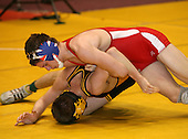 Shawn Brown and Derak Heyman wrestle at the 125 weight class during the NY State Wrestling Championships at Blue Cross Arena on March 8, 2008 in Rochester, New York.  (Copyright Mike Janes Photography)