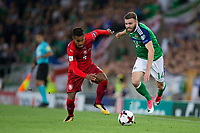 Northern Ireland's Stuart Dallas battles for possession with Czech Republic's Theodor Gebre Selassie        <br /> <br /> <br /> Photographer Craig Mercer/CameraSport<br /> <br /> FIFA World Cup Qualifying - European Region - Group C - Northern Ireland v Czech Republic - Monday 4th September 2017 - Windsor Park - Belfast<br /> <br /> World Copyright &copy; 2017 CameraSport. All rights reserved. 43 Linden Ave. Countesthorpe. Leicester. England. LE8 5PG - Tel: +44 (0) 116 277 4147 - admin@camerasport.com - www.camerasport.com