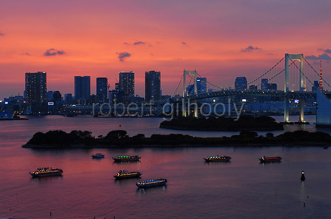 """Yakata-bune"" pleasure boats set anchor on the placid waters of Tokyo Bay in Tokyo, Japan on 3 Sept.  2010. .Photographer: Robert Gilhooly"
