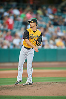 Taylor Cole (11) of the Salt Lake Bees delivers a pitch to the plate against the New Orleans Baby Cakes at Smith's Ballpark on June 11, 2018 in Salt Lake City, Utah. New Orleans defeated Salt Lake 6-5.  (Stephen Smith/Four Seam Images)