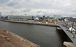 Hamburg - Germany, August  10, 2013 -- Official opening of the Baakenhafenbrücke (bridge over Baakenhafen) with i.a. the First Mayor of Hamburg, Olaf Scholz; Baakenhafen quarter is part of the development project HafenCity in the harbour / port of Hamburg; left: HafenCity University -- Photo: © HorstWagner.eu