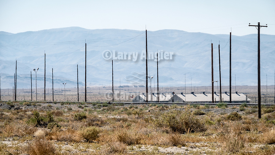 Hawthorne Army Depot bunkers, train tracks and power poles, Hawthorne, Nevada