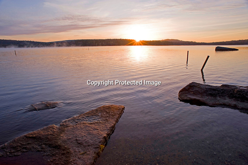 Sunrise on Washington Pond in New Hampshire on a Quiet Spring Morning