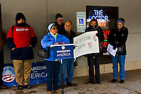 Organizing for America is a group affiliated with the democratic party and was conceived following Barack Obama's election. The press conference was held outside a doctor's clinic in Schaumburg, Illinois to call for support to President's healthcare plan.